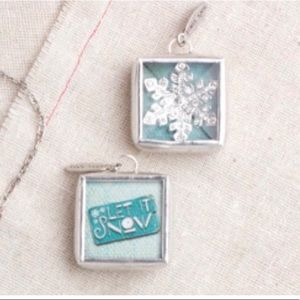 Snowflake Bling Let it Snow Glass & Pewter Charm
